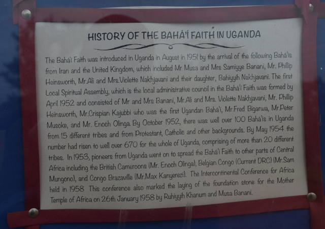 history of the bahai faith in Uganda