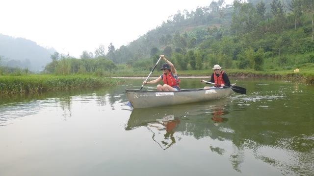 canoeing on River Mukungwa in Musanza Rwanda